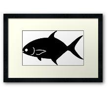 Pompano Fish Silhouette (Black) Framed Print