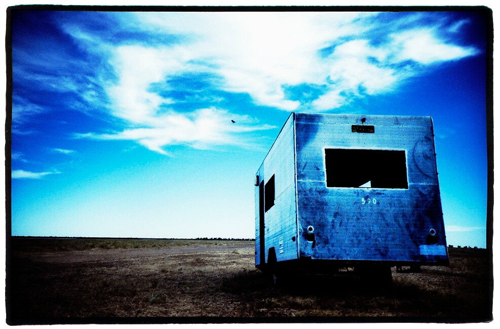 Blue caravan by Brett Squires
