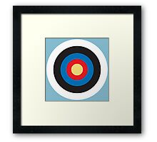 Bulls Eye, Right on Target, Roundel, Archery, on Blue Framed Print