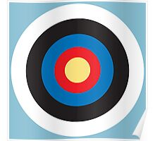 Bulls Eye, Right on Target, Roundel, Archery, on Blue Poster