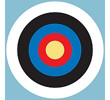 Bulls Eye, Right on Target, Roundel, Archery, on Blue Photographic Print