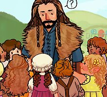 Thorin and Baby Hobbits by HattieHedgehog