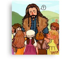Thorin and Baby Hobbits Canvas Print