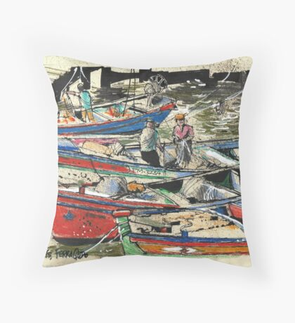 Fishing Boats, Ferragudo, Portugal Throw Pillow