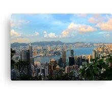 HK Panorama at Sunset - Hong Kong. Canvas Print