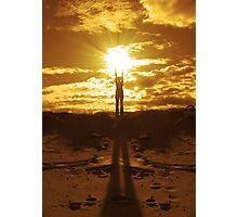 Woman holding the sun between her hands Photographic Print
