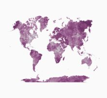 World map in watercolor pink Kids Clothes