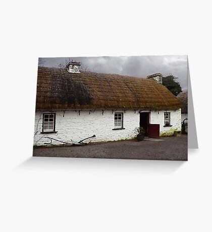 Old tatched and whitewashed Irish country cottage Greeting Card