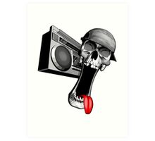 Skull With Boombox Art Print