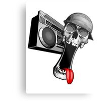Skull With Boombox Metal Print