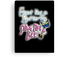 Float Like a Butterfly, Sting like a Bee, Boxer, Muhammad Ali, Cassius Clay, on BLACK Canvas Print
