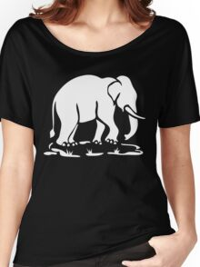 White Asian Elephants Ahead / Thai Elephant Trekking Traffic Sign Women's Relaxed Fit T-Shirt