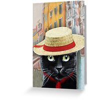 Venetian Gondolier Cat Art Greeting Card