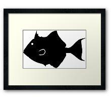 Triggerfish Fish Silhouette (Black) Framed Print