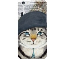 Charming French Cat in Paris. Perfect for cat lovers. iPhone Case/Skin
