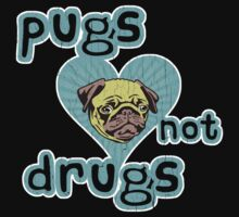 Funny Pugs Not Drugs (Vintage Distressed Design) Kids Tee