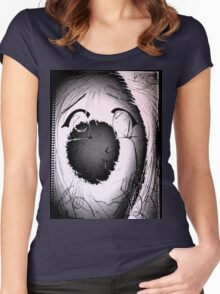 Anime in Sumi-e with adjusted lighting. Women's Fitted Scoop T-Shirt