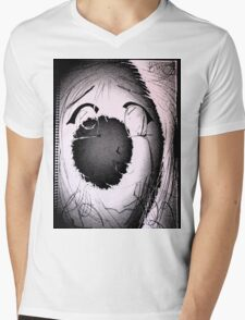 Anime in Sumi-e with adjusted lighting. Mens V-Neck T-Shirt