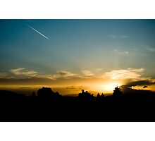 Sunset - Lonely contrail Photographic Print