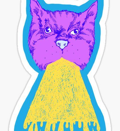 Cat Vomit - Purple Poot + Blue Background Sticker