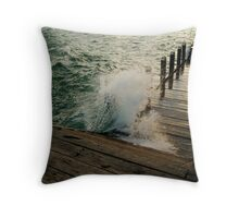 Choppy Seas,Queenscliff Pier Throw Pillow