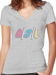 Cute A/S/L Women's Fitted V-Neck T-Shirt