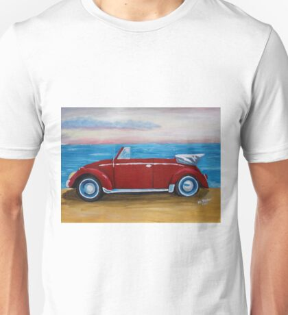 red VW bug with sea Unisex T-Shirt