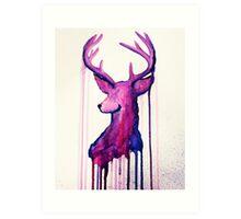 Watercolour Deer Silhouette Art Print