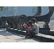 Girls at Angkor Wat temple Photographic Print