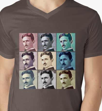 Nikola Tesla T-Shirt - Pop Art Clothing For Men Women Mens V-Neck T-Shirt