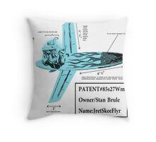 Stan Brule Flying Surfboard Blueprints Design by SmashBam Throw Pillow