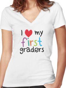 I Heart My First Graders Teacher Love Women's Fitted V-Neck T-Shirt