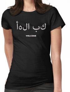 Pro Muslim Anti Trump Arabic Welcome Refugee Immigrant Womens Fitted T-Shirt