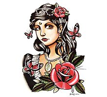 Butterfly Girl - tattoo Photographic Print