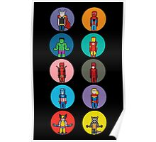 8Bit Marvel Characters Poster