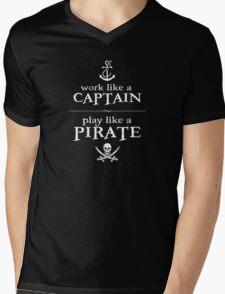 Work Like a Captain, Play Like a Pirate Mens V-Neck T-Shirt