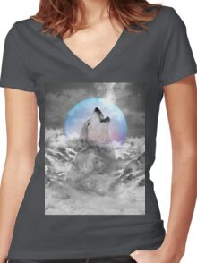 Maybe the Wolf Is In Love with the Moon Women's Fitted V-Neck T-Shirt