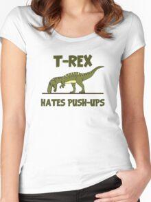 Tyrannosaurus Rex Dinosaur Hates Push Ups Women's Fitted Scoop T-Shirt
