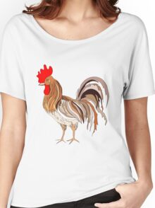 Illustration depicting a colored rooster Women's Relaxed Fit T-Shirt