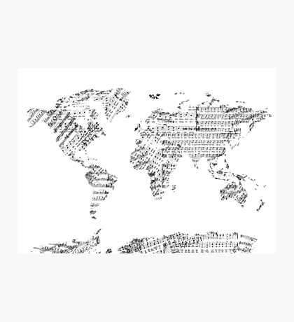 world map music notes Photographic Print