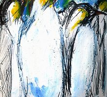 Penguins Acrylics And Ink by JamesPeart
