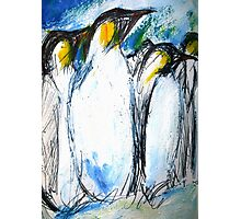 Penguins Acrylics And Ink Photographic Print