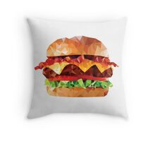 Geometric Bacon Cheeseburger Throw Pillow