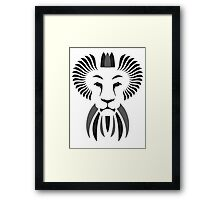 Lion Haze - Black & White King Framed Print
