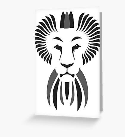 Lion Haze - Black & White King Greeting Card