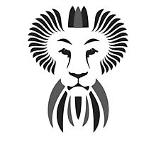 Lion Haze - Black & White King Photographic Print