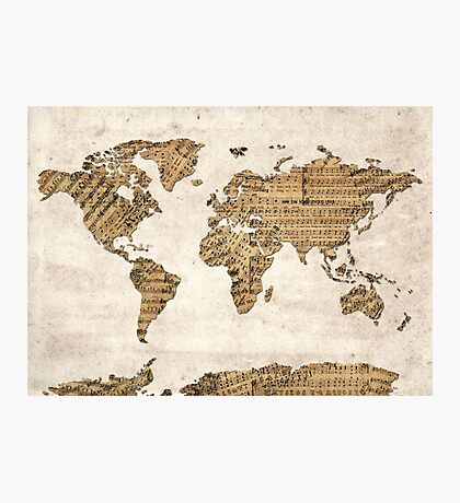 world map music notes 5 Photographic Print