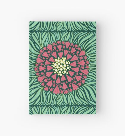 Large Pink Flower Pattern Hardcover Journal