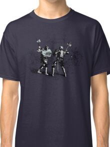 Knights Fight - Cool Sketchy Vintage Drawing Of Medieval Knight Battle  Classic T-Shirt