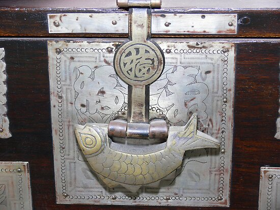 Antique Korean Bed Linens Chest - Fish Shaped Lock by Sandra Chung